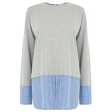 Buy Warehouse Stripe Hem & Cuff Top, Light Grey Online at johnlewis.com