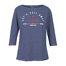 Buy Fat Face Sail Away Breton Stripe T-Shirt, Navy Online at johnlewis.com