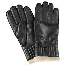 Buy Barbour Leather with Faux Fur Gloves, Black Online at johnlewis.com