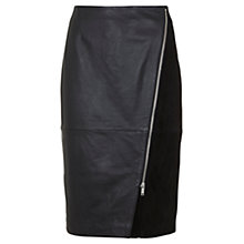 Buy Mint Velvet Leather Diagonal Zip Pencil Skirt, Black Online at johnlewis.com