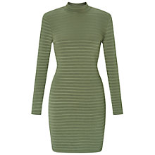 Buy Miss Selfridge Petite High Neck Rib Dress, Khaki Online at johnlewis.com