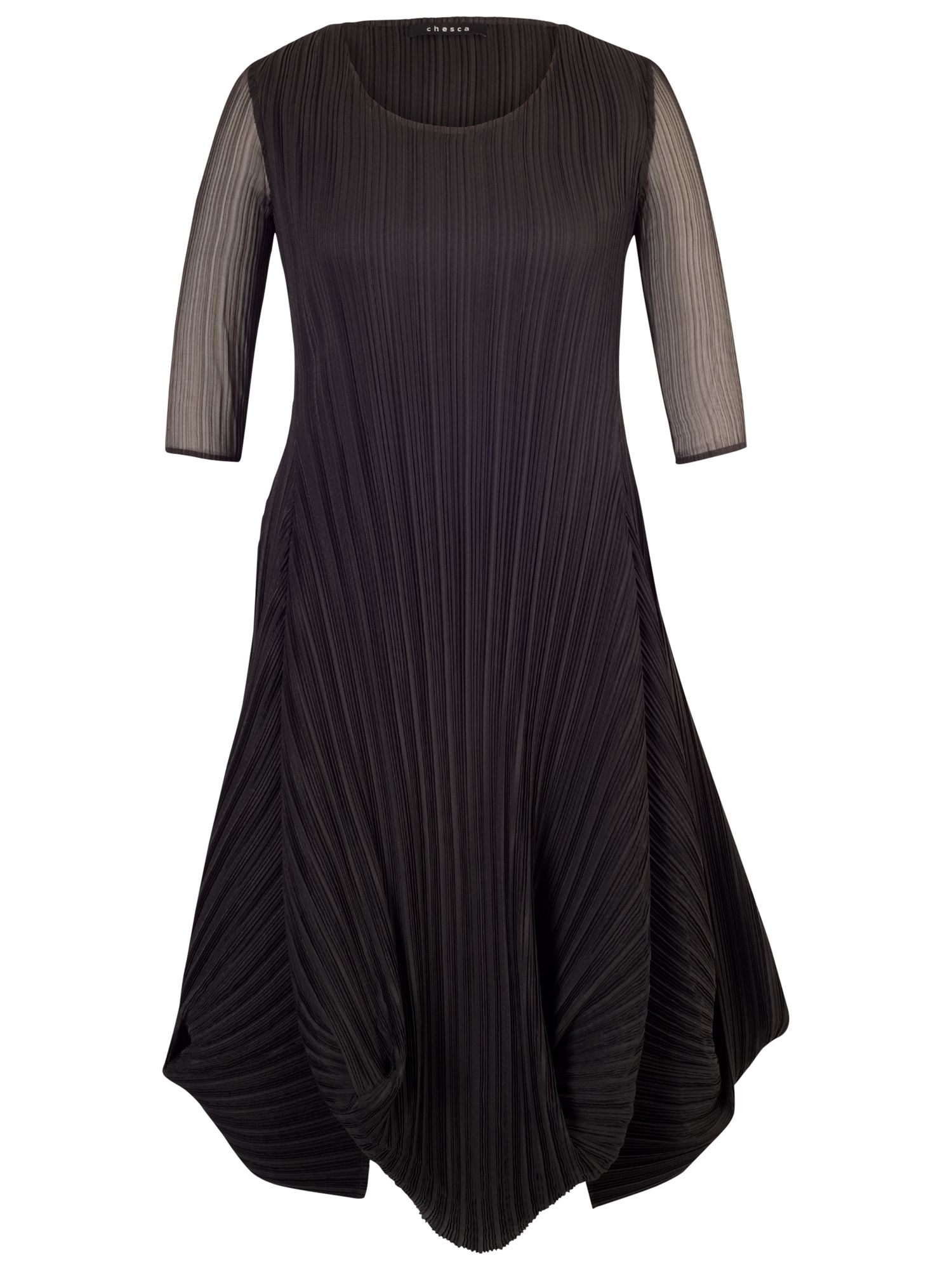 Chesca Chesca Black Crush Pleat Crepe Drape Hem Dress