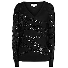 Buy Reiss Ruby Sequin Jumper, Black Online at johnlewis.com