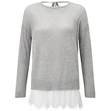 Buy Miss Selfridge Lace Hem 2 in 1 Jumper, Grey Online at johnlewis.com