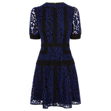 Buy Karen Millen Colourblock Lace Dress, Blue/Multi Online at johnlewis.com