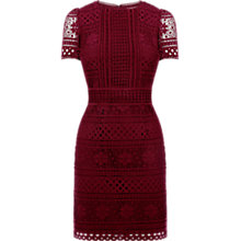 Buy Oasis Amy Lace Dress, Mid Red Online at johnlewis.com
