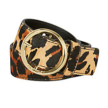 Buy Karen Millen Lux Round Buckle Smart Leather Belt, Leopard Online at johnlewis.com