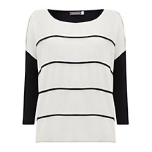 Buy Mint Velvet Jersey Sleeve T-Shirt, Ivory/Ink Online at johnlewis.com