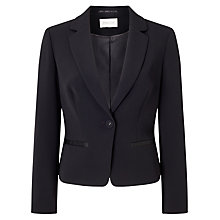 Buy Precis Petite Edie Twill Revere Jacket, Black Online at johnlewis.com