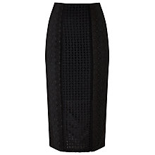 Buy Precis Petite Elora Embroidery Pencil Skirt, Black Online at johnlewis.com