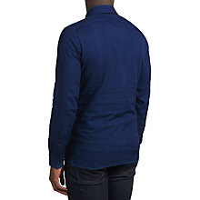 Buy J. Lindeberg Daniel Half Zip Cotton Shirt, Indigo Melange Online at johnlewis.com