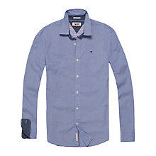 Buy Hilfiger Denim Micro Gingham Slim Fit Shirt, Light Blue Online at johnlewis.com