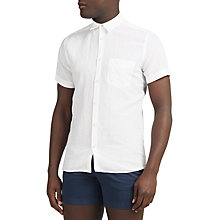 Buy J. Lindeberg Daniel Short Sleeve Linen Cotton Shirt, White Online at johnlewis.com