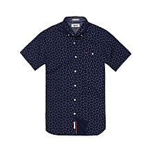 Buy Tommy Hilfiger Ditsy Print Cotton Poplin Short Sleeve Shirt, Black Iris Online at johnlewis.com