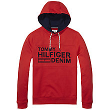 Buy Hilfiger Denim Overhead Panel Hoodie, High Risk Red Online at johnlewis.com