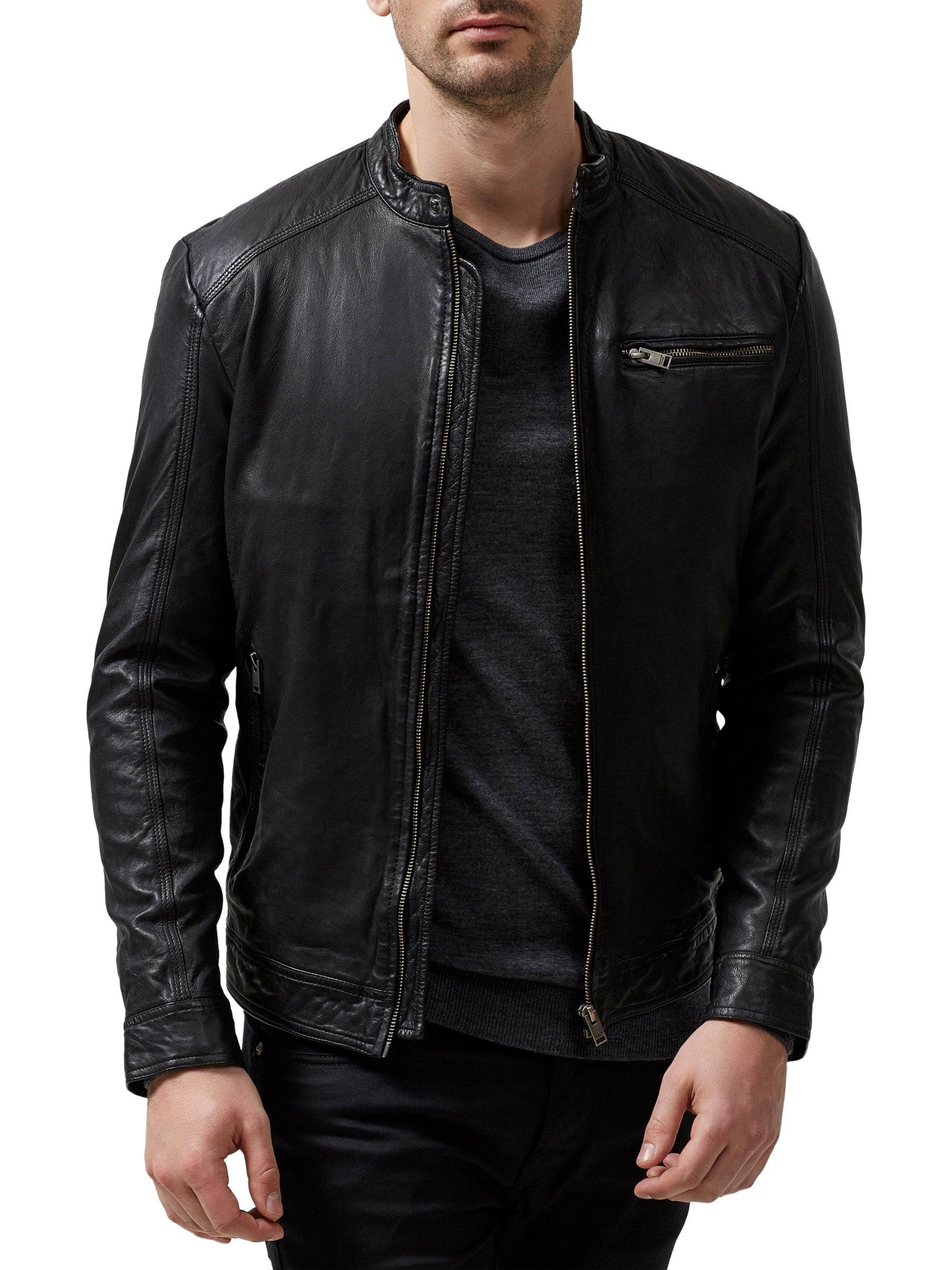 Selected Homme Selected Homme New Tylor Leather Jacket, Black