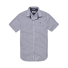 Buy Hilfiger Denim Short Sleeve Mini Print Slim Shirt, White/Multi Online at johnlewis.com