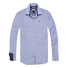 Buy Hilfiger Denim Stripe Cotton Stretch Long Sleeve Shirt, Blue/White Online at johnlewis.com
