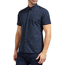 Buy J. Lindeberg Daniel Short Sleeve Print Cotton Shirt, Navy Online at johnlewis.com