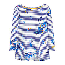 Buy Joules Harbour 3/4 Sleeve Printed Jersey Top, Blue Floral Stripe Online at johnlewis.com