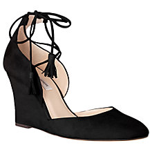 Buy L.K. Bennett Leticia Tie Wedge Heeled Court Shoes, Black Online at johnlewis.com