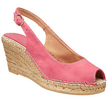 Buy John Lewis Kami Peep Toe Wedge Heeled Sandals, Raspberry Online at johnlewis.com