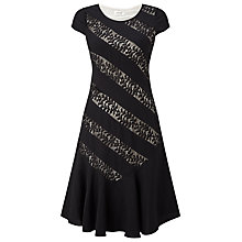 Buy Precis Petite Lenne Stripe Lace Detail Dress, Black Online at johnlewis.com