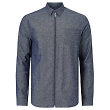 Buy Samsoe & Samsoe Liam Zip Overshirt, Dark Indigo Melange Online at johnlewis.com