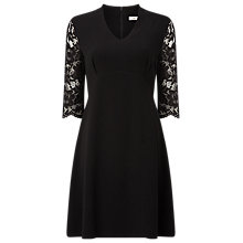 Buy Precis Petite Sienna Texture Trapeze Dress, Black Online at johnlewis.com