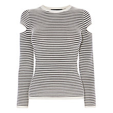 Buy Karen Millen Cut Out Sleeve Stripe Jumper, Black/White Online at johnlewis.com