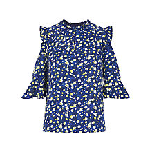 Buy Whistles Bibi Cold Shoulder Top, Blue/Multi Online at johnlewis.com