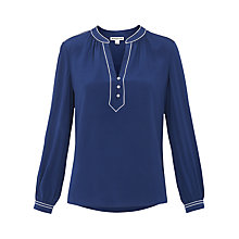Buy Whistles Jocelyn Silk Blouse, Navy Online at johnlewis.com