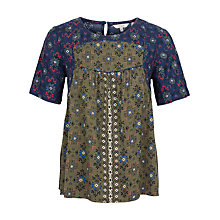 Buy Fat Face Luna Folk Geo Blouse, Navy Online at johnlewis.com