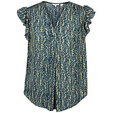 Buy Fat Face Jodie Antique Woodblock Blouse, Vintage Blue Online at johnlewis.com