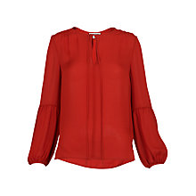 Buy Whistles Erin Tie Silk Blouse, Orange Online at johnlewis.com