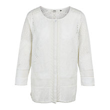 Buy Fat Face Penny Broderie Blouse, White Online at johnlewis.com