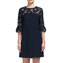 Buy Whistles Regina Lace And Crepe Dress, Navy Online at johnlewis.com