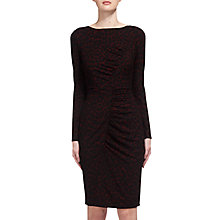 Buy Whistles Animal Print Jersey Bodycon Dress, Burgundy Online at johnlewis.com