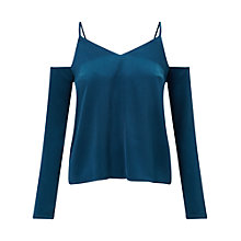 Buy Miss Selfridge Satin Cold Shoulder Top, Turquoise Online at johnlewis.com