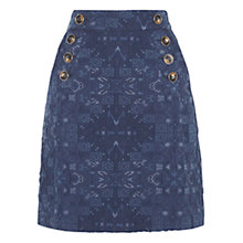 Buy Karen Millen Jacquard A-Line Mini Skirt, Blue Online at johnlewis.com