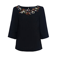 Buy French Connection Ernest Floral Short Sleeve Top, Black Online at johnlewis.com
