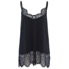 Buy French Connection Swift Drape Lace Trimmed Camisole, Black Online at johnlewis.com