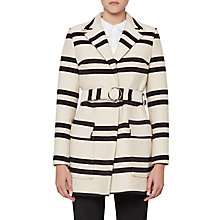 Buy French Connection Escher Stripe Belted Mac Coat, Classic Cream/Nocturnal Online at johnlewis.com