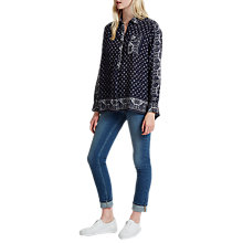 Buy French Connection Altman Voile Popover Top, Indigo/Multi Online at johnlewis.com