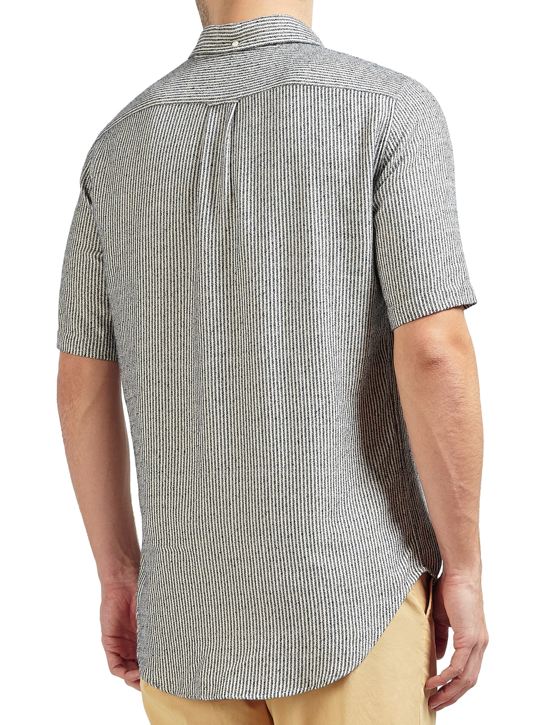 Gant Rugger Gant Rugger Micro Stripe Short Sleeve Shirt, Evening Blue