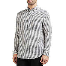 Buy Gant Rugger Striped Cotton-Linen Shirt, Evening Blue Online at johnlewis.com