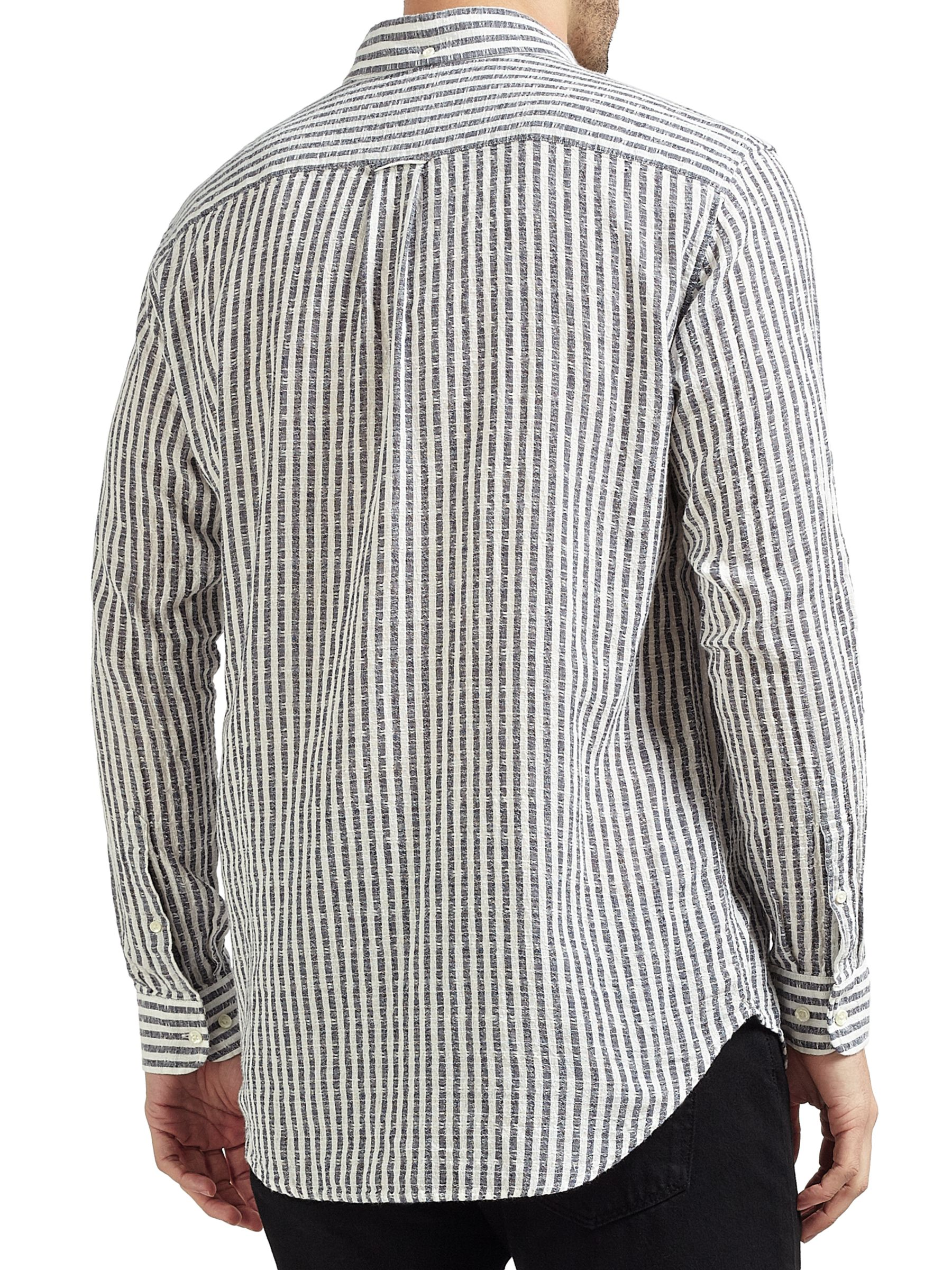 Gant Rugger Gant Rugger Striped Cotton-Linen Shirt, Evening Blue