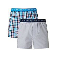 Buy Gant Check Woven Cotton Boxers, Pack of 2, Blue Online at johnlewis.com