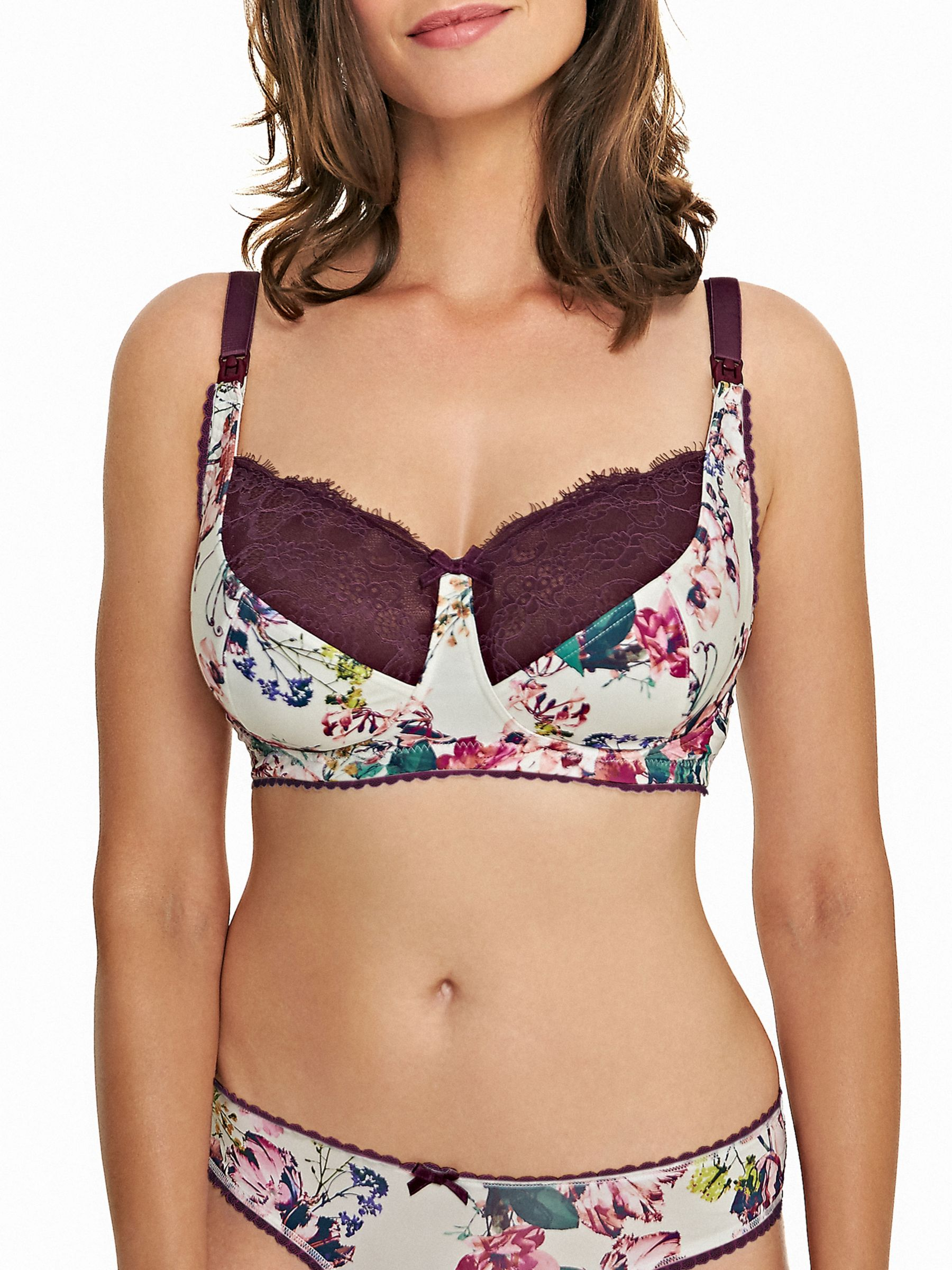 Royce Royce Florence Maternity Bra, Aubergine/Off White