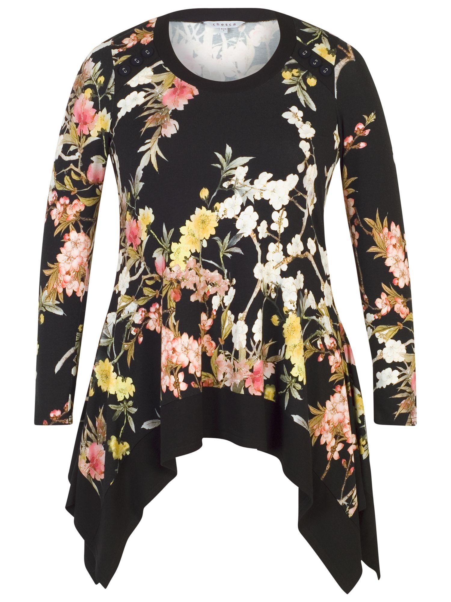 Chesca Chesca Oriental Floral Tunic, Black